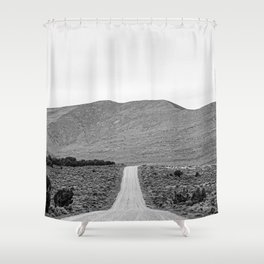 Road Outta Town // Black and White Landscape Photograph Going Out to Nowhere Peaceful Scenery Shower Curtain