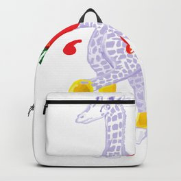 Thanksgiving Food Fight Tomatoe - Midas is Ready - Christmas Lavender Giraffe Backpack