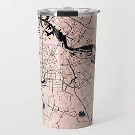 Amsterdam Rosegold on Black Street Map Travel Mug