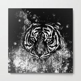 tiger head portrait wsbwb Metal Print