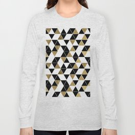 Modern Black, White, and Faux Gold Triangles Long Sleeve T-shirt