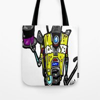 """borderlands Tote Bags featuring """"Welcome Travelers... To The Claptrap Variety Show!""""  Borderlands 2 comes alive! by beetoons"""
