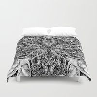 doberman Duvet Covers featuring ornament by Кaterina Кalinich