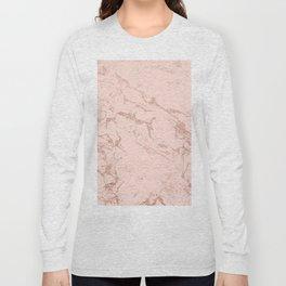 Modern rose gold glitter ombre foil blush pink marble pattern Long Sleeve T-shirt