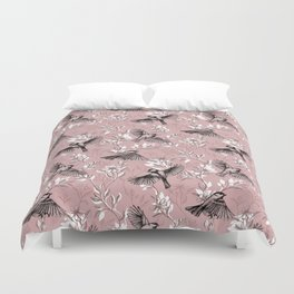 Flowers and Flight in Monochrome Rose Pink Duvet Cover