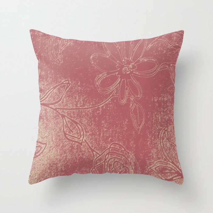 Light pink abstract design vintage velvet look with flowers Throw Pillow by ankka Society6