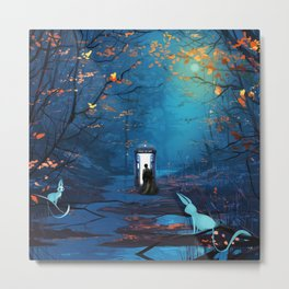 Tardis And The Doctor Lost In The Forest Metal Print