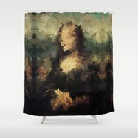 mona lisa Shower Curtains featuring Panelscape Iconic - Mona Lisa by ⊙ Paolo Tonon