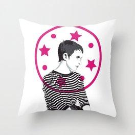 Jean Seberg//Black & White Throw Pillow