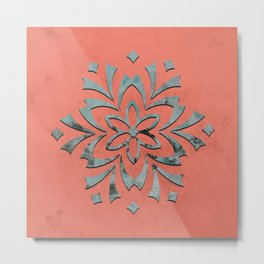 Geometric metallic flower coral grey Metal Print