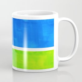 Abstract Minimalist Mid Century Modern Watercolor Geometric Squares Rothko Lime Green Marine Blue Coffee Mug