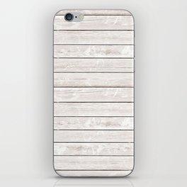 Rustic ivory white vintage wood iPhone Skin
