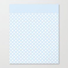 White hearts on light blue background . Canvas Print