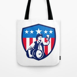 American Patriot Beer Keg Flag Crest Retro Tote Bag