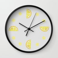 lemon Wall Clocks featuring Lemon by krrstnn