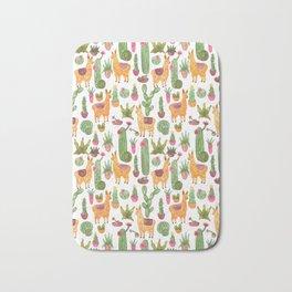 watercolor alpaca clique with cacti and succulents Bath Mat