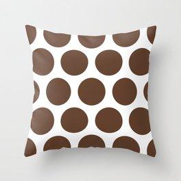 Large Polka Dots: Chocolate Brown Throw Pillow