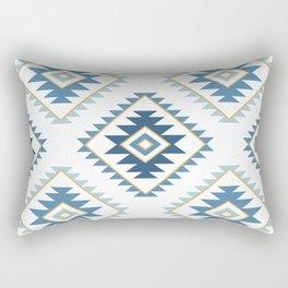 Aztec Style Motif Pattern Blues White Gold Rectangular Pillow