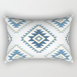 Aztec Style Motif Pattern Blues White Gold Rectangular Pillow