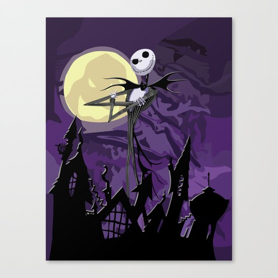 Halloween Purple Sky with jack skellington iPhone 4 4s 5 5c, ipod, ipad, pillow case tshirt and mugs Canvas Print