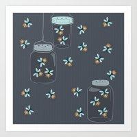 fireflies Art Prints featuring Fireflies by Badger & Bee