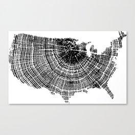United States Print, Tree ring print, Tree rings, US map, Wood grain Canvas Print
