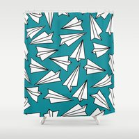 planes Shower Curtains featuring Paper Planes by Amy Harlow