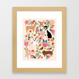 Chihuahua florals cute pastel dog breed must have gifts for small dog owner dog person pet portraits Framed Art Print