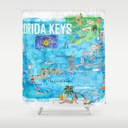 Florida Keys Key West Marathon Key Largo Illustrated Travel Poster Favorite Map 2nd Signpost Edition Shower Curtain