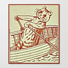 Cat Row Boating  - Louis Wain Cats Canvas Print
