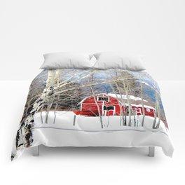 Montana Barn in Winter Comforters