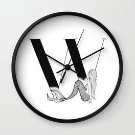 Mermaid Alphabet Series - W Wall Clock