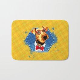 Hipster Airedale Terrier Bath Mat