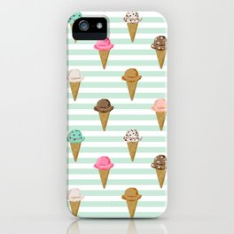 ice cream cones flavors mint stripes food fight apparel and gifts iPhone Case