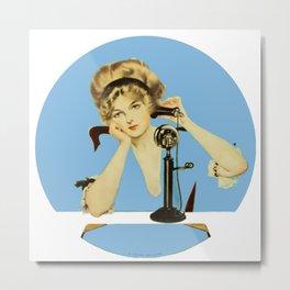 "C Coles Phillips 'Fadeaway Girl' ""Long Distance Call"" Metal Print"