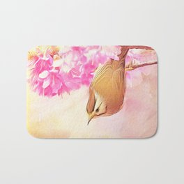 Taiwan Yuhina with Cherry Bloosom Bath Mat