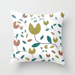Stylized Flowers Entwine Throw Pillow