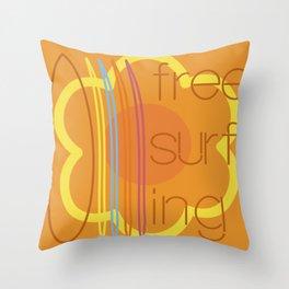 Free surfing Throw Pillow