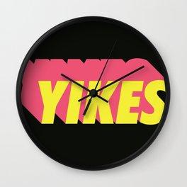 YIKES yellow/pink Wall Clock