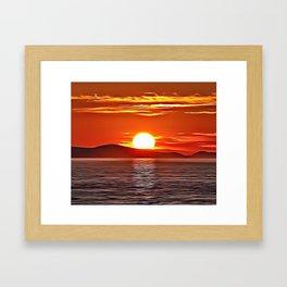 Orange Seascape Airbrush Artwork Framed Art Print