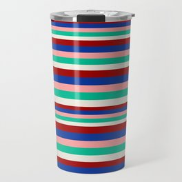 Colored Stripes - Dark Red Blue Rose Teal Cream Travel Mug