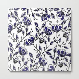 Modern navy blue white hand painted watercolor flowers Metal Print