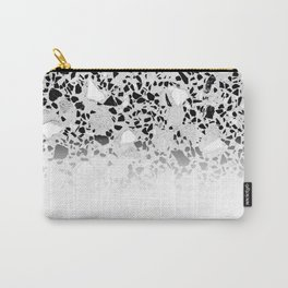 Concrete Terrazzo and Black and White Modern Monochrome Design Carry-All Pouch