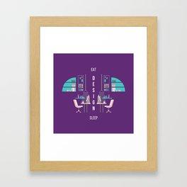 Eat Design Sleep  - Purple Framed Art Print