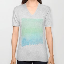 Hand painted turquoise teal blue watercolor ombre brushstrokes Unisex V-Neck