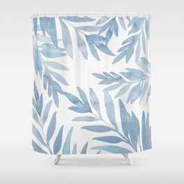 Muted Blue Palm Leaves Shower Curtain