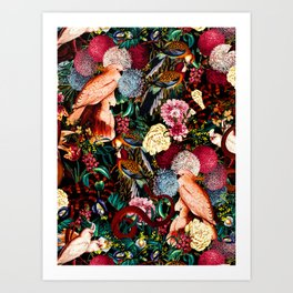 Floral and Animals pattern II Art Print