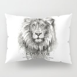 Lion Courage Motivational Quote Watercolor Painting Pillow Sham