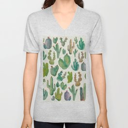 Summer Watercolor Cactus Unisex V-Neck