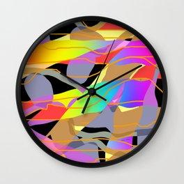 WAVY BANDS OF COLOR Design Pattern Illustration Wall Clock